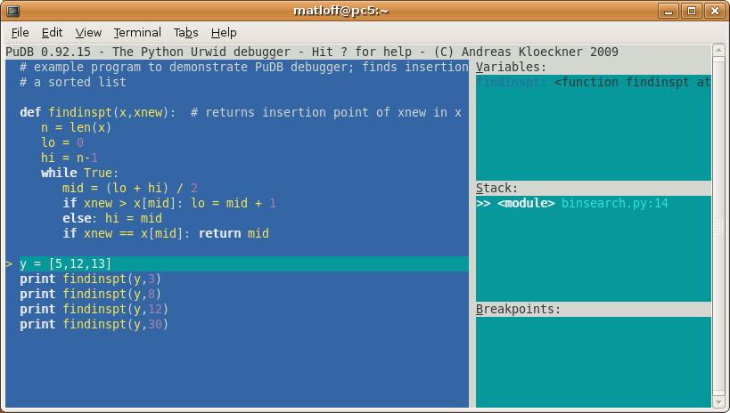 Introduction to the PuDB Python Debugging Tool
